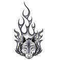 monochromatic wolf flaming fire logo mascot vector image