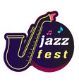 neon jazz fest saxophone background image vector image