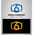 Number 6 logo logotype design vector image vector image