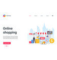 online shopping service landing page customer vector image