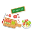 Prepared Ingredients And Bowl With Ready Salad Of vector image
