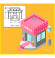 project cinema in flat and isometric style vector image
