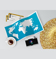 realistic world map with tag pins vector image