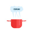 red cooking pan icon vector image