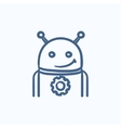 Robot with gear sketch icon vector image vector image