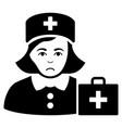 sad first-aid nurse black icon vector image
