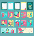 set of cards with music cats vector image vector image