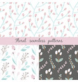 set of floral seamless pattern seamless pattern vector image vector image
