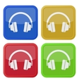 set of four square icons with headphones vector image vector image