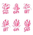 Set of pink and white graphic gift box logo vector image vector image
