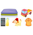 set toys and other items on white background vector image