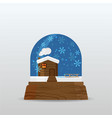 snow ball snow globe with little house snow and vector image vector image