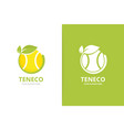 tennis and leaf logo combination game and vector image vector image