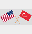 the crossed turkey and usa flags vector image