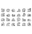 tsunami icons set outline style vector image vector image