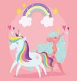 unicorns cartoon animals rainbow stars clouds vector image vector image