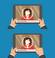 video player app on tablet screen and woman vector image vector image