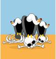 Vultures on bones in desert griffin gnaw bones vector image