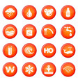 water icons set red vector image
