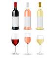 wine bottles and glasses of wine vector image vector image