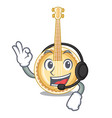 with headphone miniature banjo in the cartoon vector image