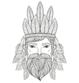 zentangle Portrait of Man with Mustache beard war vector image
