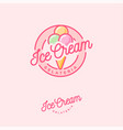 logo ice cream pink three scoops vector image