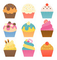 set of cup cake icon with coating sugar vector image
