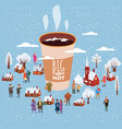 a big cup of coffee people of men and women in vector image vector image