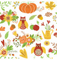 autumn seamless pattern cute doodles card hand vector image