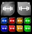 barbell icon sign Set of ten colorful buttons with vector image vector image