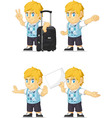 Blonde Rich Boy Customizable Mascot 15 vector image vector image