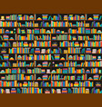 Books on shelves seamless pattern bookcase library