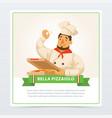 cartoon character of italian pizzaiolo holding vector image