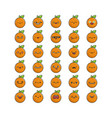 collection kawaii orange fruit emoticons vector image