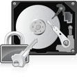 computer hard drive and lock vector image vector image