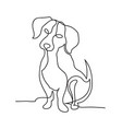 continuous line dog minimalistic hand drawing vector image vector image