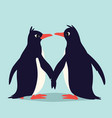 cute penguins in love family of birds holding vector image vector image