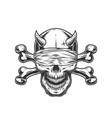 demon skull with blindfold and crossbones vector image