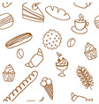 Edible seamless pattern with bread rolls cakes vector image vector image