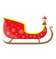 empty santa sleigh with snowflakes holly and lamp vector image