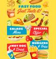 fast food menu takeaway food vector image