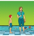 Female swimming coach disgruntled student vector image