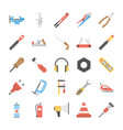 flat icons set of tools vector image