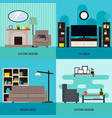 flat living room interior square concept vector image vector image