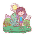 girl reading book with sun kawaii in the field vector image vector image