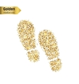 Gold glitter icon of footprint isolated on vector image