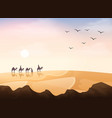 group arab people riding with camels caravan in vector image vector image