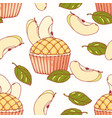 hand drawn seamless pattern with apple pie cupcake vector image