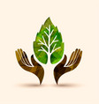hand tree green leaf nature help vector image vector image